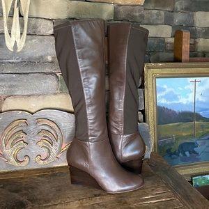 Michael Khors Tall Dark Brown Wedge Boots